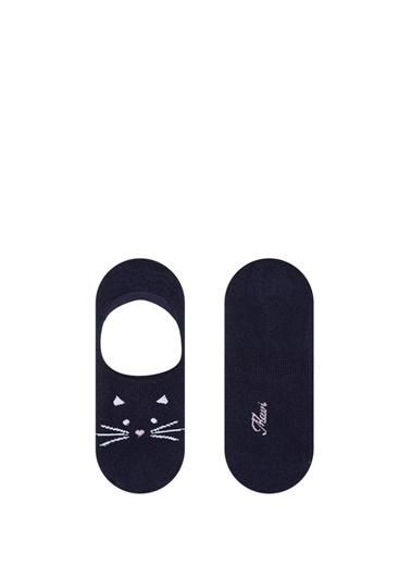 Mavi Kedi Desenli Babet Çorabı Siyah